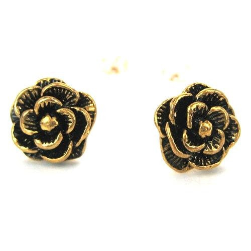 large-rose-flower-floral-textured-stud-earrings-in-bronze