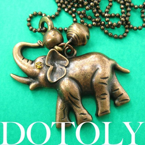 cute-simple-elephant-animal-pendant-necklace-in-bronze