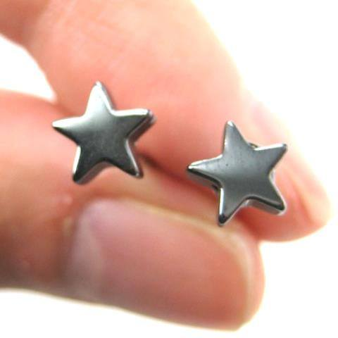 Universe Night Sky: Star Shaped Stud Earrings in Gunmetal Silver | DOTOLY