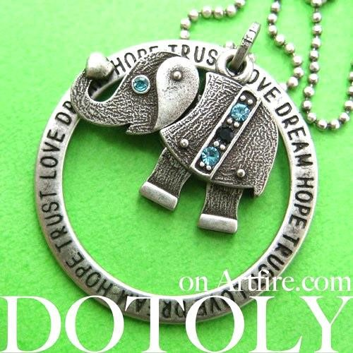 elephant-robot-animal-hoop-round-pendant-necklace-in-silver