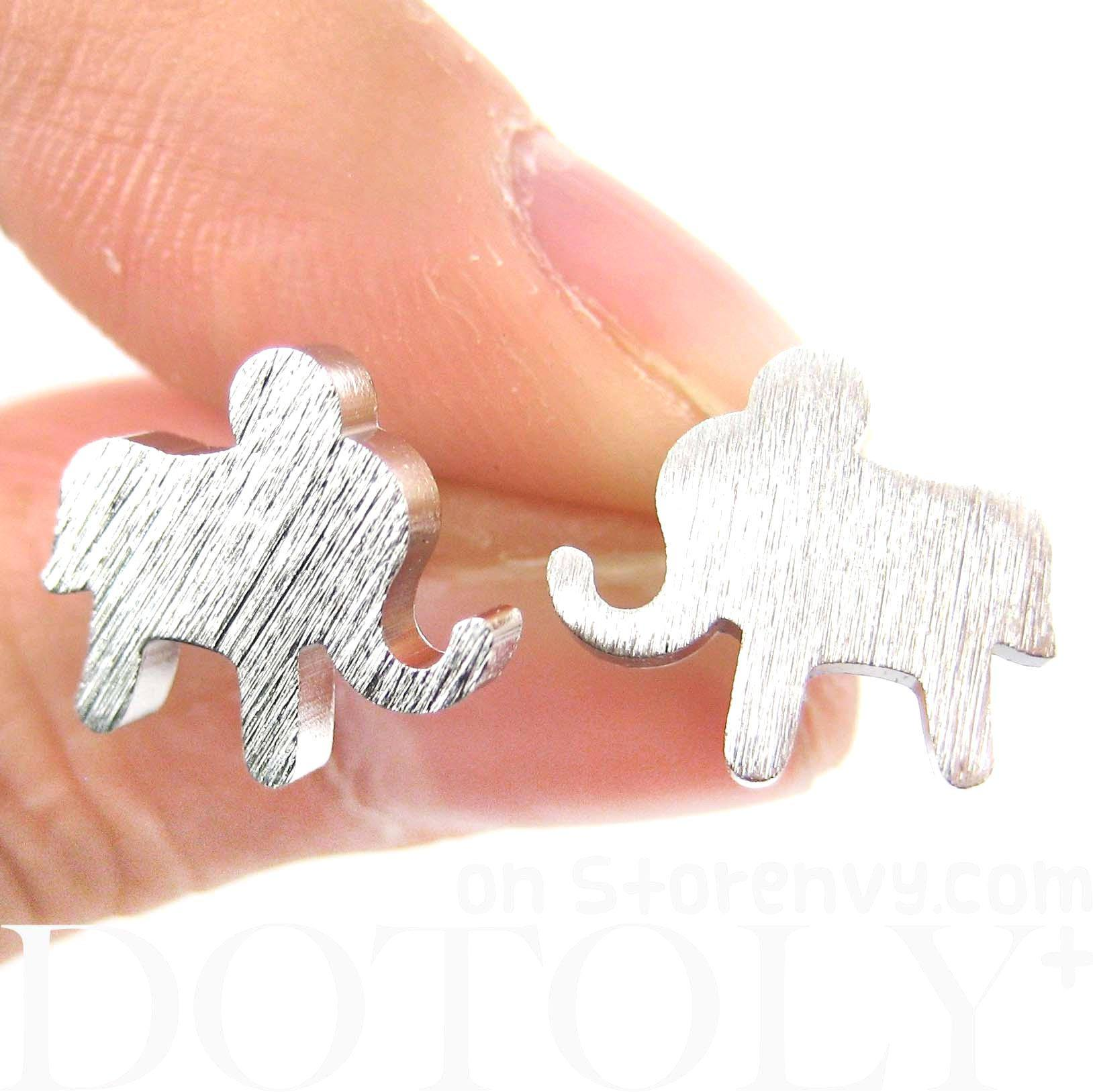 simple-elephant-animal-silhouette-stud-earrings-in-silver