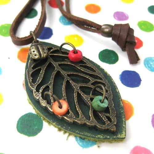 leaf-green-nature-floral-beaded-leather-necklace-adjustable-strap