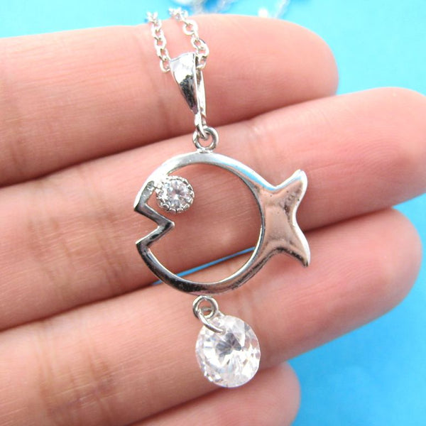 Fish Shaped Animal Charm Necklace in Silver with Rhinestones on SALE | DOTOLY