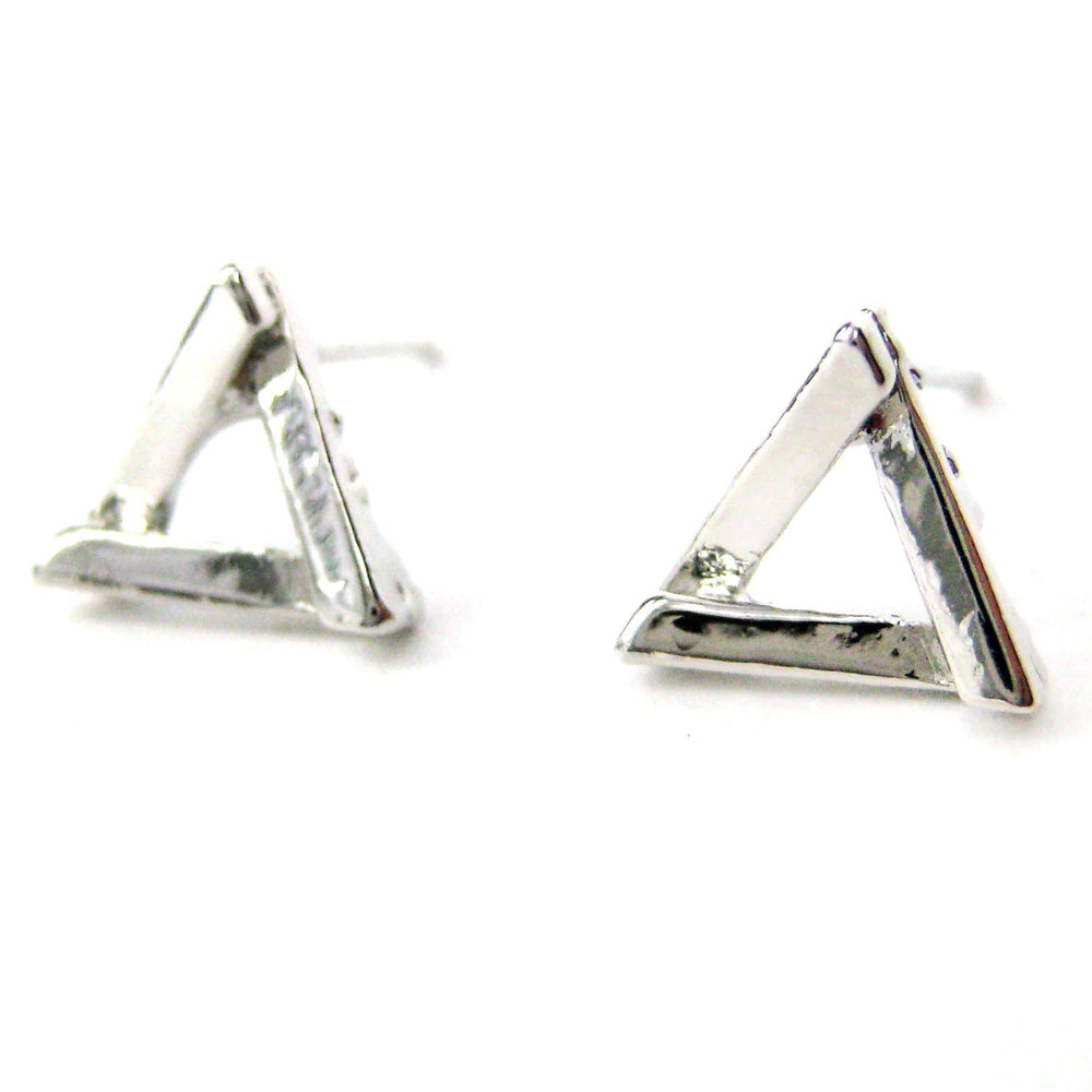 Small Geometric Triangular Stud Earrings in Silver | DOTOLY | DOTOLY