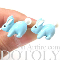 Fluffy Bunny Rabbit Animal Stud Earrings in Light Blue | DOTOLY | DOTOLY