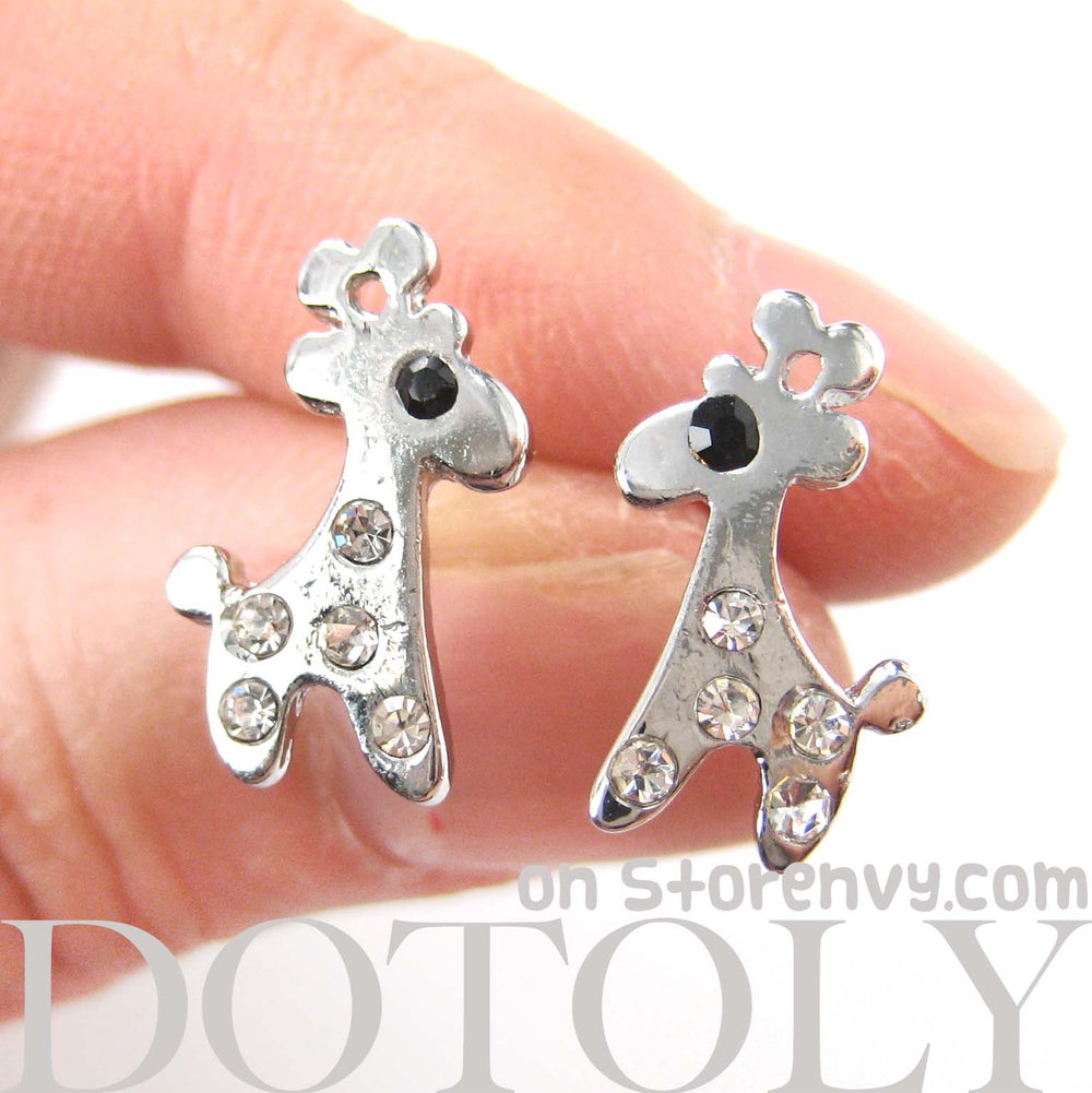 Adorable Giraffe Shaped Stud Earrings in Silver with Rhinestones | DOTOLY