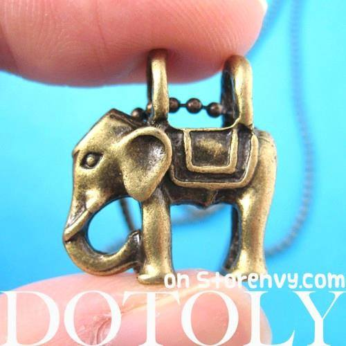 Small Elephant Animal Charm Pendant Necklace in Bronze | DOTOLY