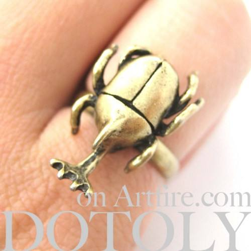 Adjustable Horned Stag Beetle Insect Animal Ring in Brass | DOTOLY | DOTOLY