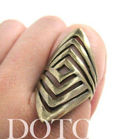 Unique Geometric Diamond Shaped Cut Out Spoon Ring | Sizes 5 to 7 Available | DOTOLY