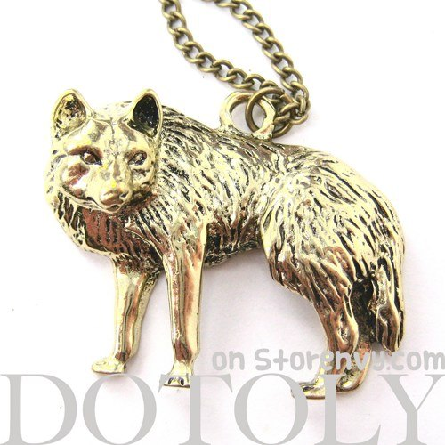 cute-wolf-fox-animal-pendant-long-necklace-in-bronze