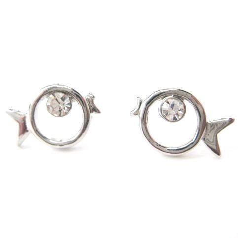 Round Fish Shaped Outline Stud Earrings in Silver with Rhinestones | DOTOLY