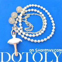 Ballerina Ballet Dancer Pendant Pearl Beaded Necklace in White | DOTOLY
