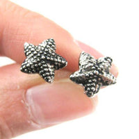 small-starfish-star-shaped-textured-stud-earrings-in-dark-silver
