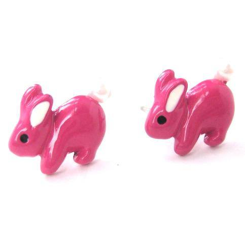 Fluffy Bunny Rabbit Animal Stud Earrings in Bright Pink | DOTOLY | DOTOLY