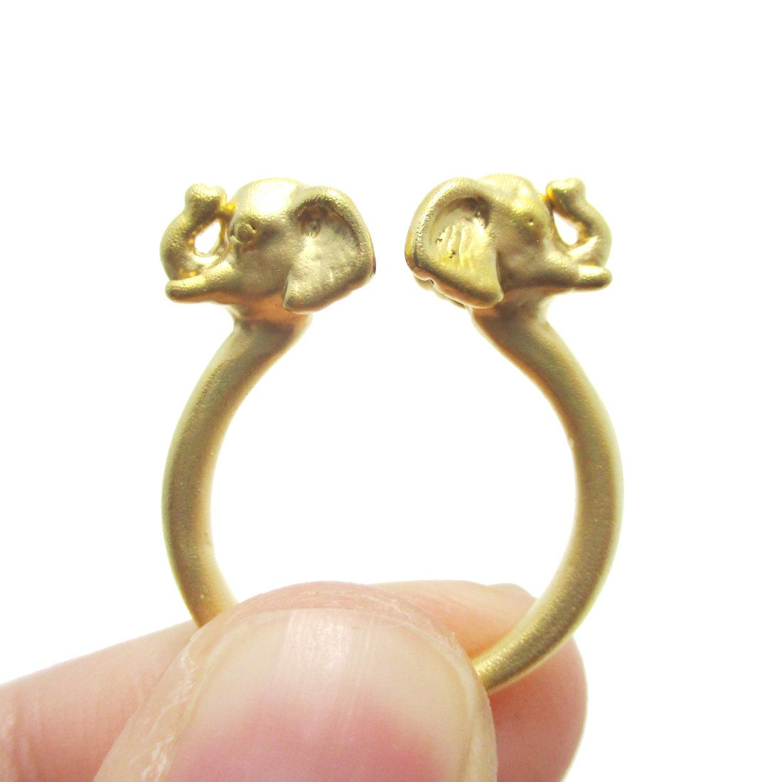 Double Elephant Head Shaped Sleek Animal Ring in Gold