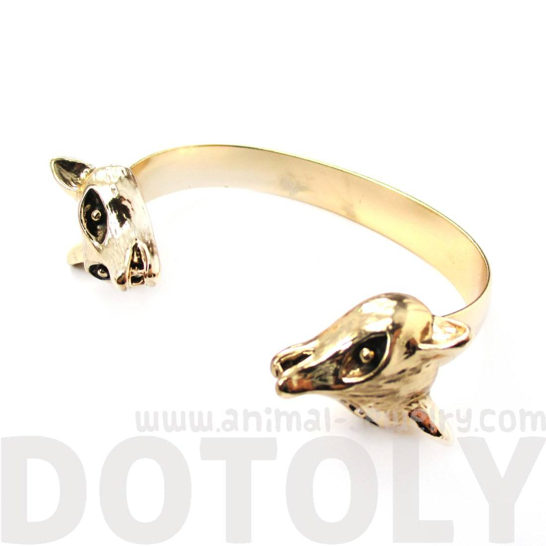 Double Fox Head Shaped Bangle Bracelet Cuff in Gold