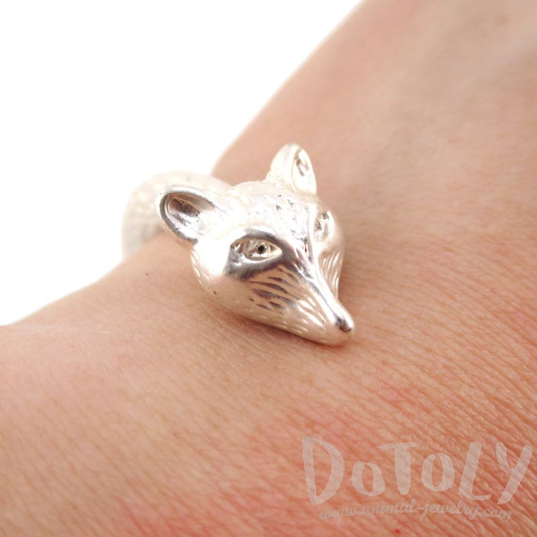 Double Fox Head Shaped Wrap Around Bangle Bracelet Cuff in Silver