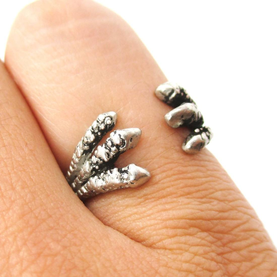 Double Raven Claw Animal Bird Shaped Ring in Silver
