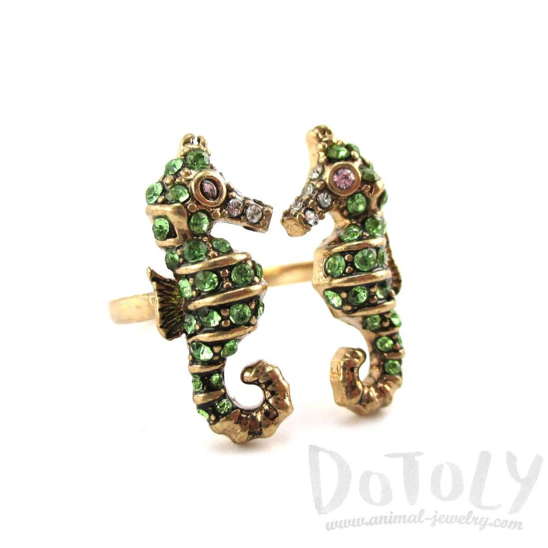 Double Seahorse Shape Adjustable Rhinestone Animal Ring