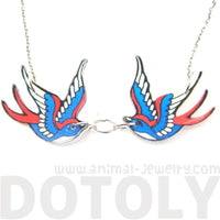 Double Swallow Tattoo Inspired Illustrated Acrylic Pendant Necklace