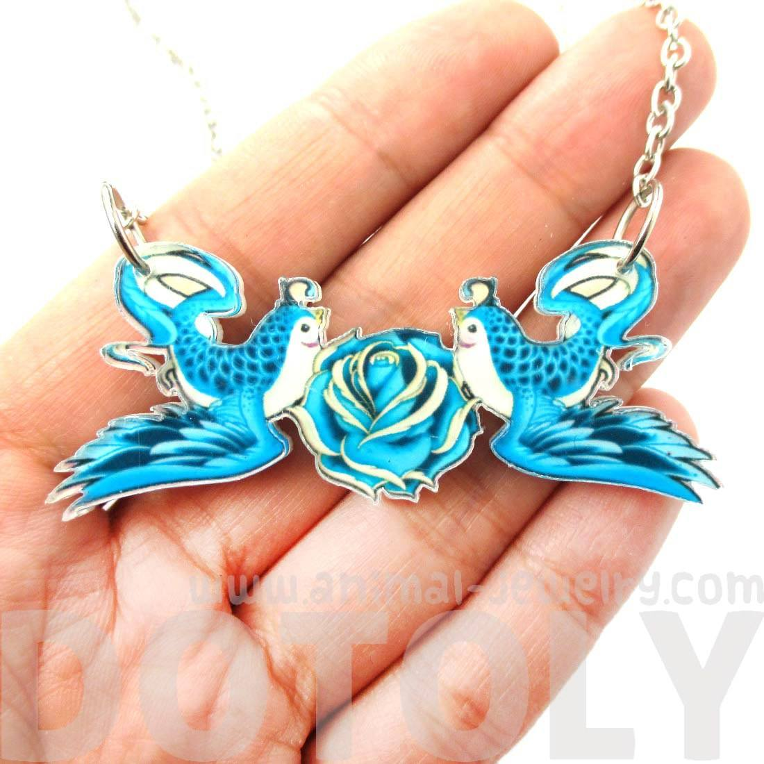 Double Swallow Love Bird and Roses Graffiti Inspired Acrylic Necklace