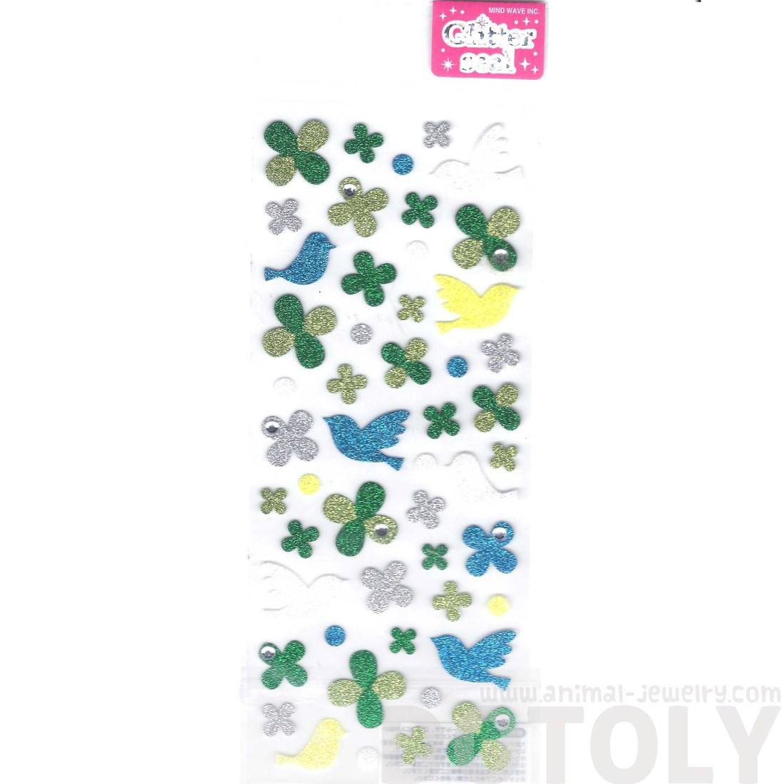 Doves Birds and Four Leaf Clovers Shaped Shimmer Decorative Stickers