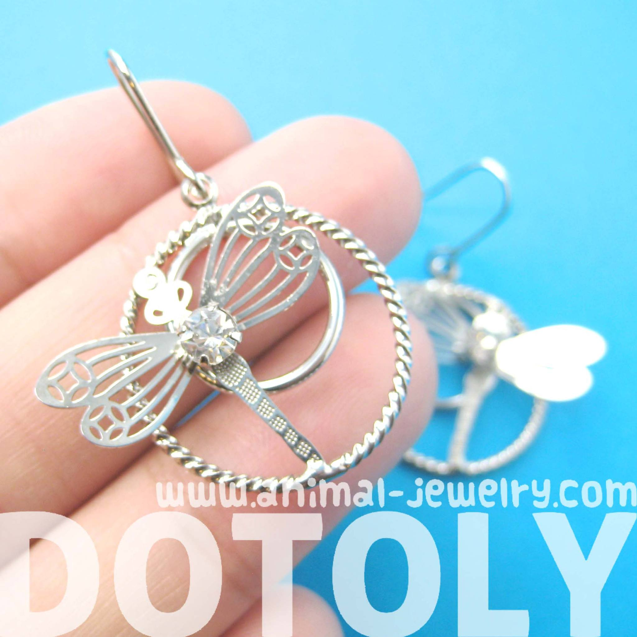 Dragonfly Shaped Dangle Hoop Earrings in Silver with Rhinestones