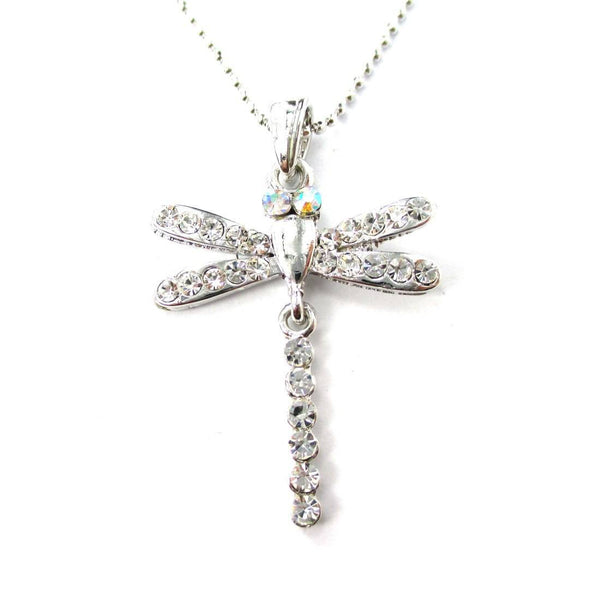 Dragonfly Shaped Rhinestone Pendant Necklace in Silver