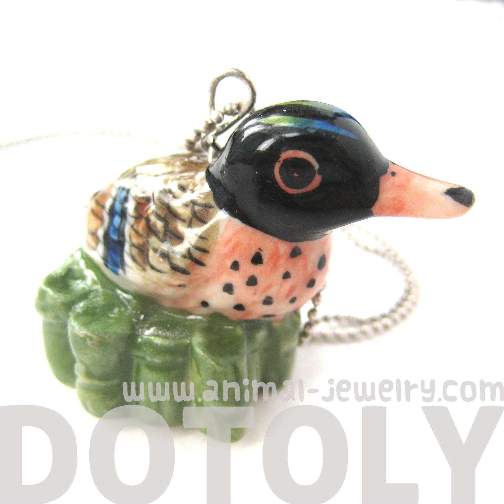duck-bird-porcelain-ceramic-animal-pendant-necklace-handmade