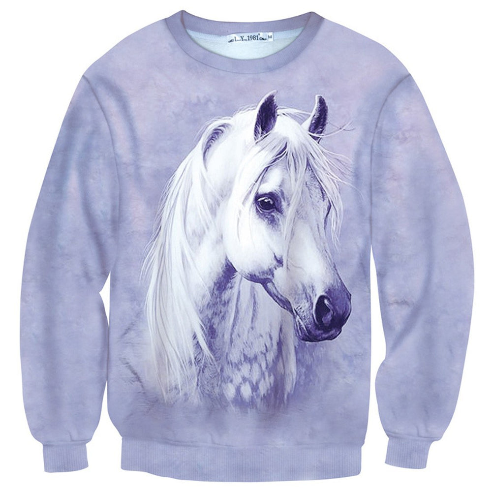 Realistic White Horse Pony Graphic Print Unisex Sweater