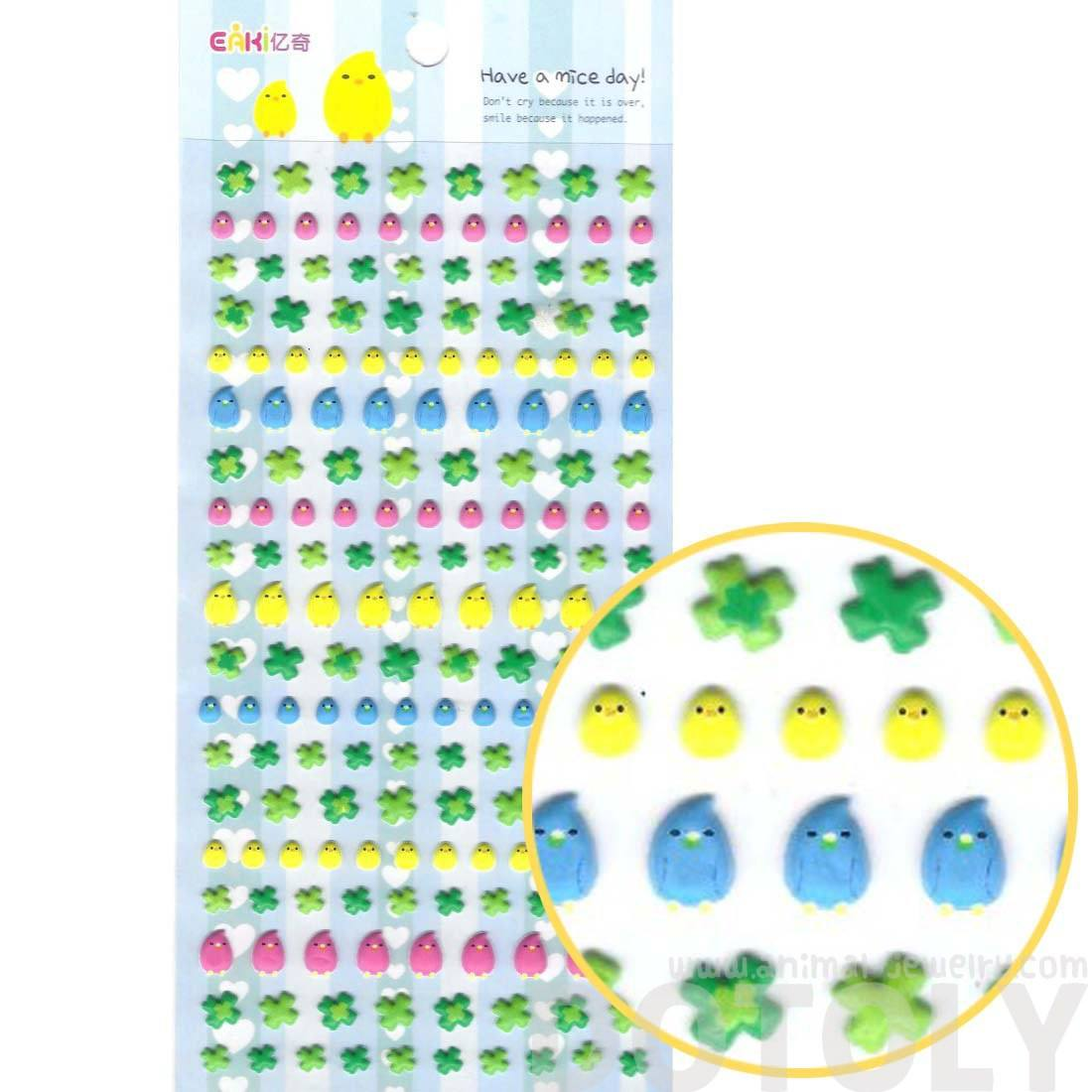 Baby Chick Bird andd Four Leaf Clovers Shaped Puffy Stickers for Kids