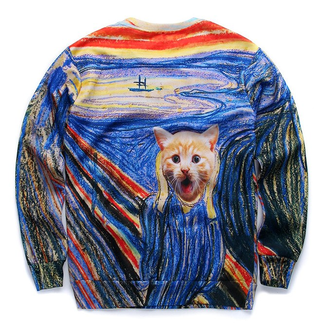 Edvard Munch The Scream Kitty Cat Parody Print Sweater