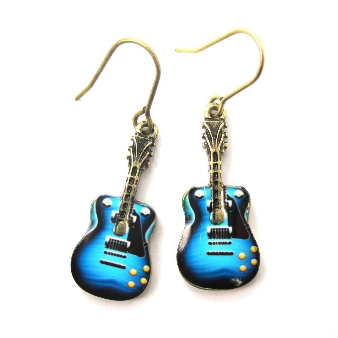 Electric Guitar Shaped Music Themed Dangle Earrings
