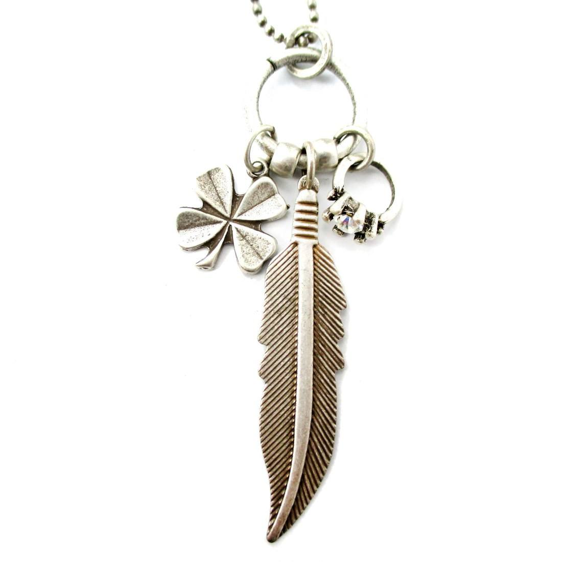 Elegant Feather Four Leaf Clover Diamond Ring Shaped Charm Necklace