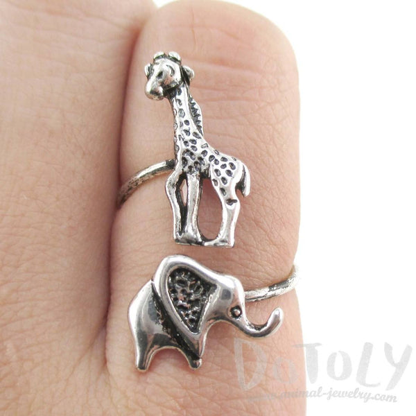 Elephant Giraffe Wrap Around Adjustable Ring in Silver