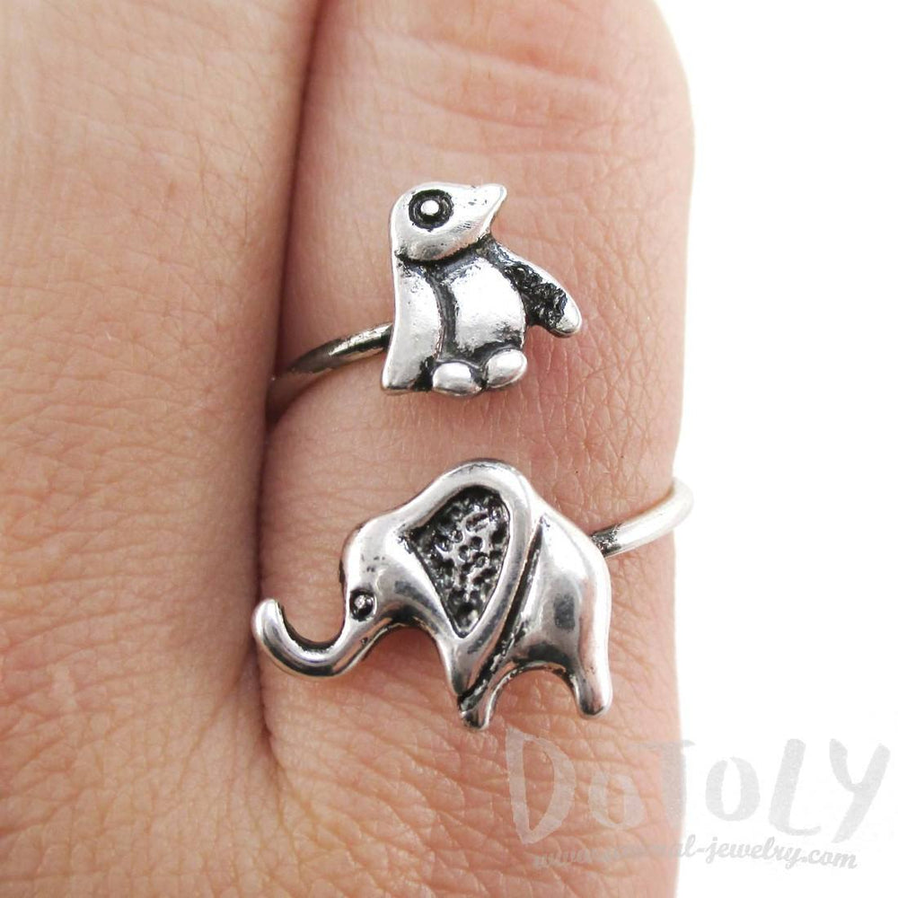 Elephant Penguin Wrap Around Adjustable Ring in Silver