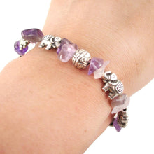 Elephant Charms and Purple Amethyst Beads Shaped Bracelet in Silver