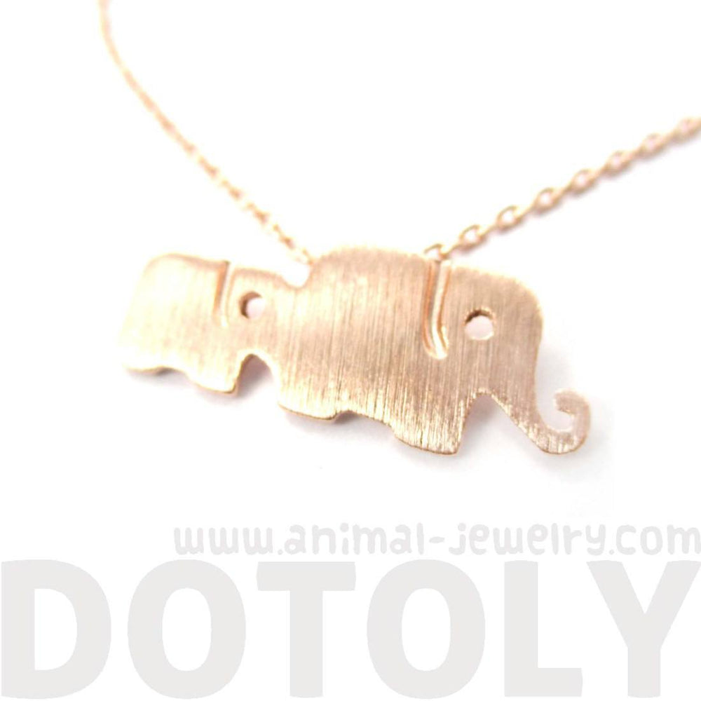 Elephant Family Animal Shaped Silhouette Pendant Necklace in Rose Gold