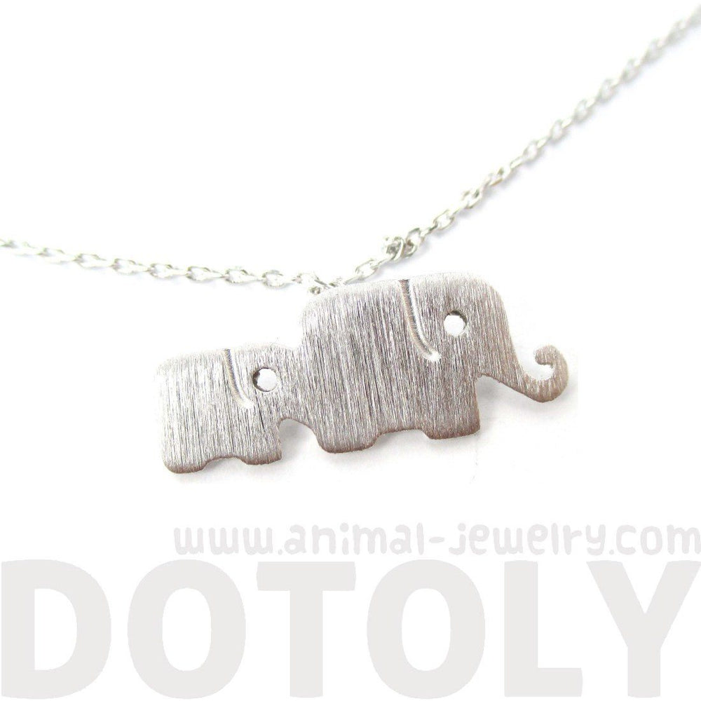 Elephant Family Animal Shaped Silhouette Pendant Necklace in Silver
