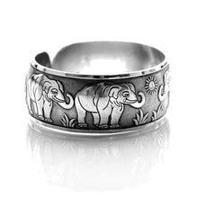 Elephant Family Bangle Cuff Bracelet in Silver | Animal Jewelry