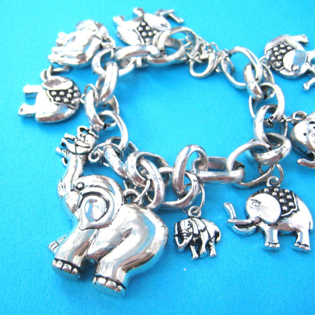 Elephant Family Parade Charm Bracelet in Silver | Animal Jewelry
