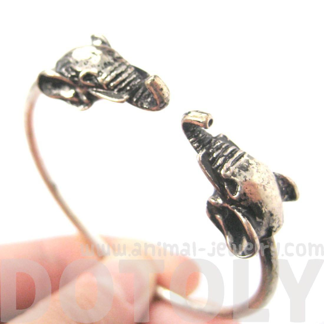 Elephant Head Animal Wrap Around Bangle Bracelet in Silver | DOTOLY
