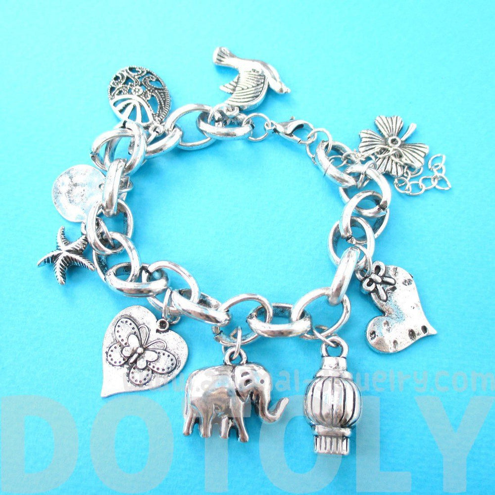 Elephant Heart Starfish Dove Shaped Animal Charm Bracelet in Silver