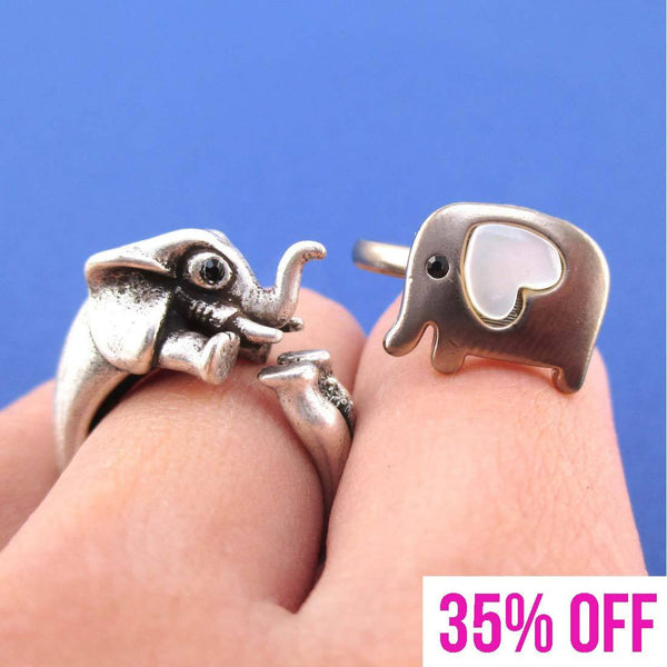 Elephant Lover Animal Ring Jewelry Set in Silver | SALE | DOTOLY
