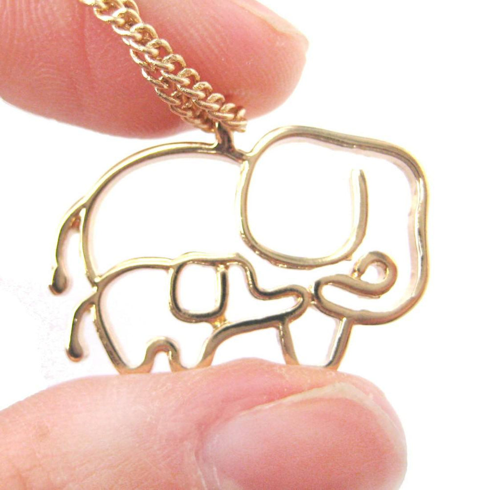 Elephant Mother Baby Outline Shaped Animal Pendant Necklace in Gold