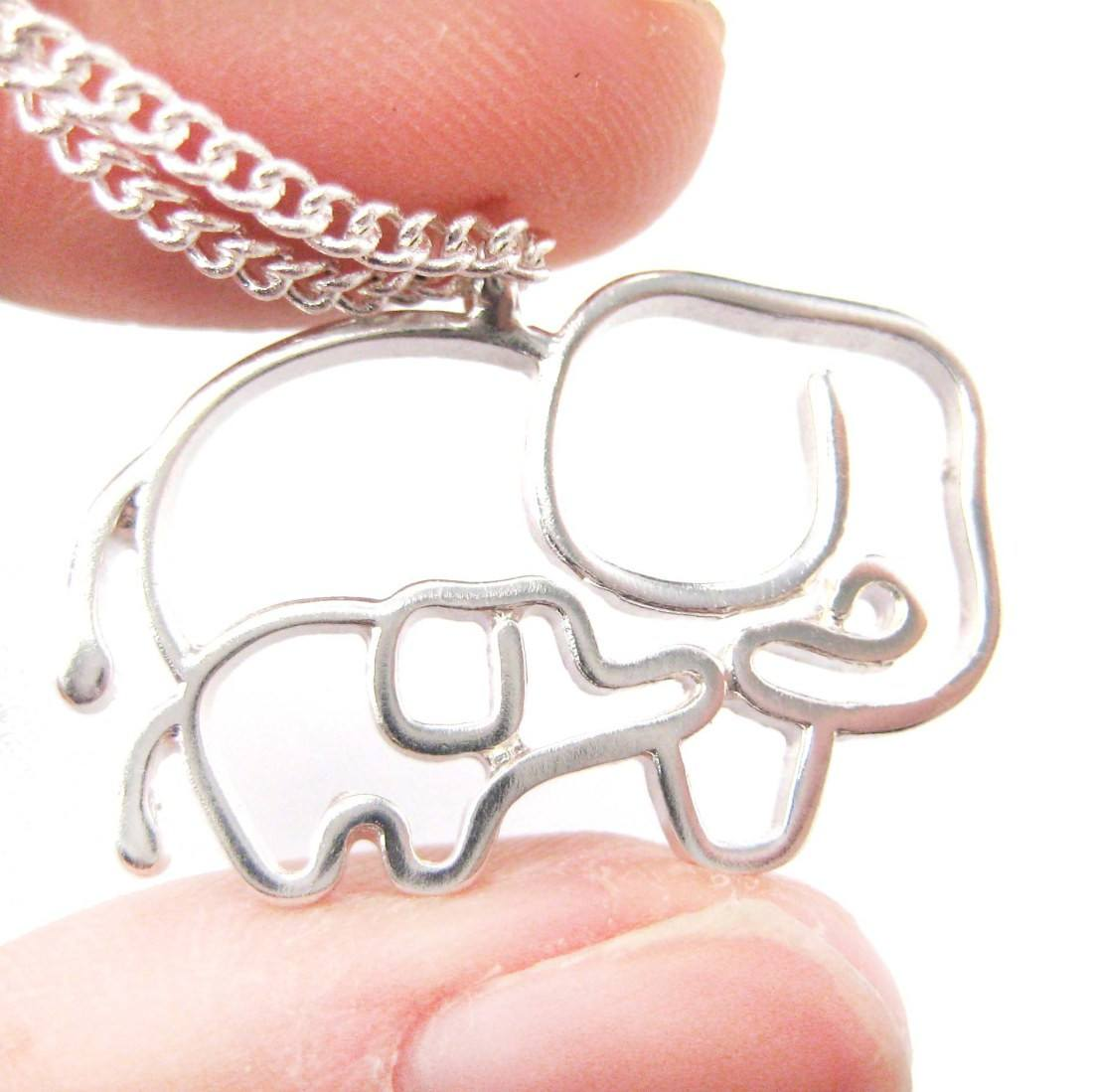 Elephant Mother Baby Outline Shaped Animal Pendant Necklace in Silver