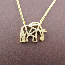 Elephant Outline Cut Out Shaped Charm Necklace in Gold | DOTOLY