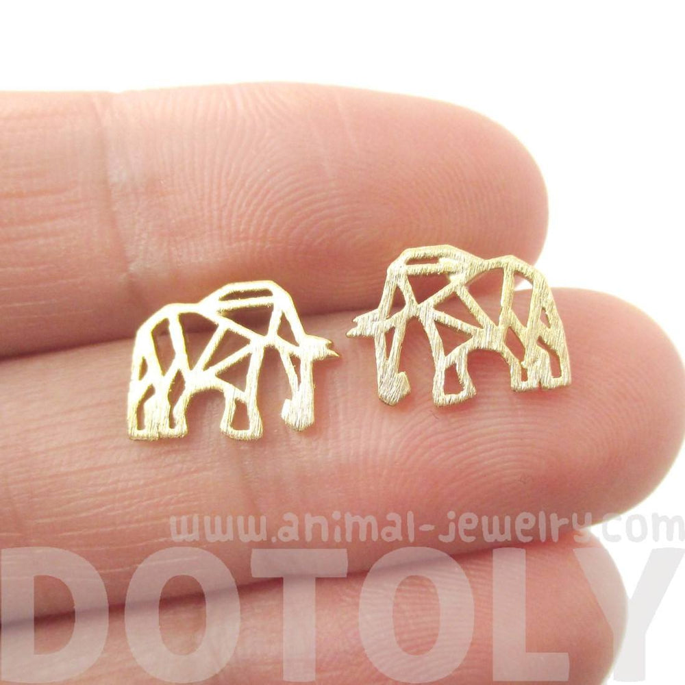 Elephant Outline Cut Out Shaped Stud Earrings in Gold