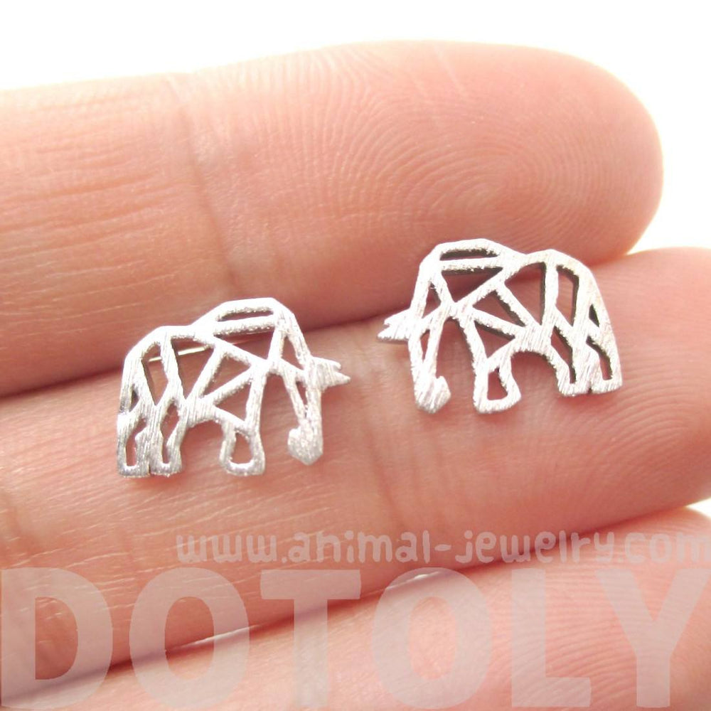 Elephant Outline Cut Out Shaped Stud Earrings in Silver
