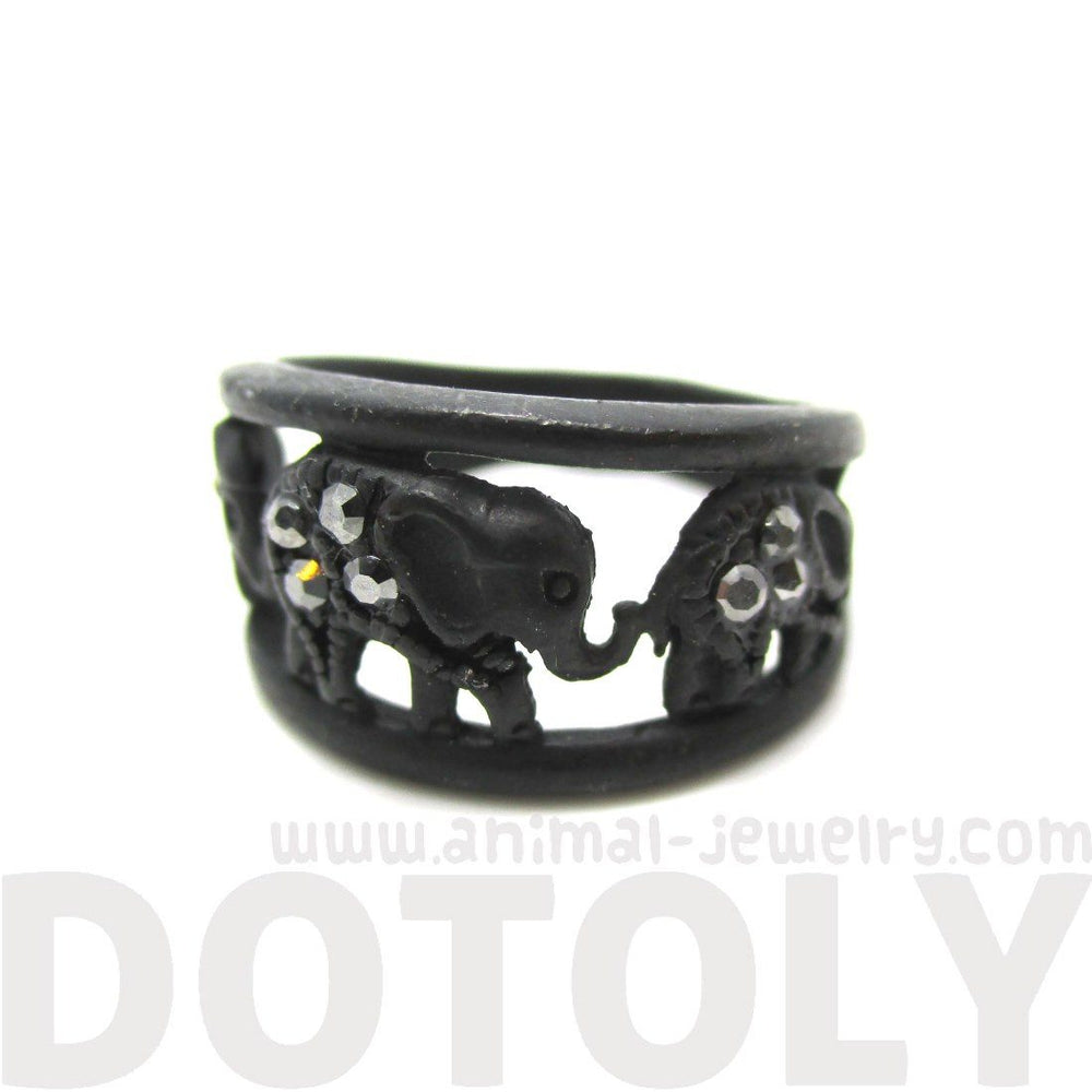 Elephant Parade Animal Ring in Black with Rhinestones
